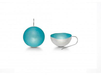 """11 Design Schmuck aus Emaille Ohrhänger Schale Aqua Silber 416x312 - Ohrhänger """"Schale"""" mit Emaille in Aqua"""