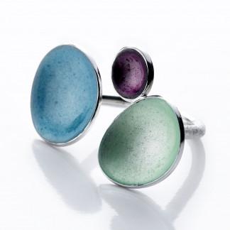 """2 Design Schmuck aus Emaille Ring Trio Frühlingsfarben Silber 324x324 - Silberring """"Trio"""" mit Emaille in Aqua, Frühling, Violett"""