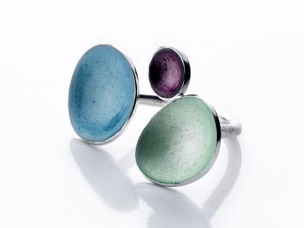 """2 Design Schmuck aus Emaille Ring Trio Frühlingsfarben Silber 600x450 - Silberring """"Trio"""" mit Emaille in Aqua, Frühling, Violett"""