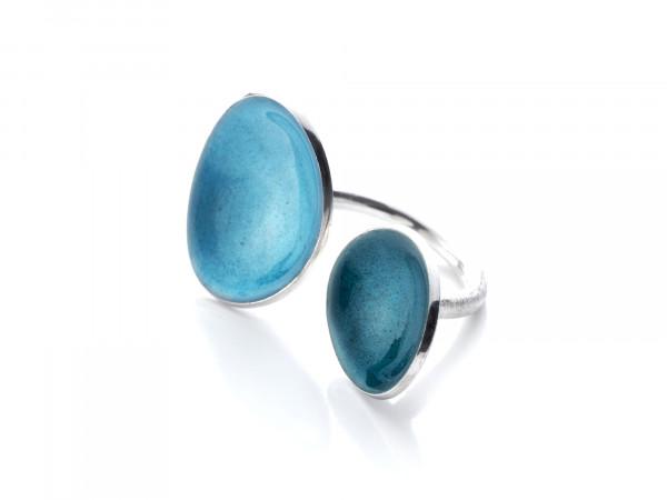 """4 Design Schmuck aus Emaille Ring Blätter Petrol Silber 600x450 - Silberring """"Blätter"""" mit Emaille in Türkis und Taschkent"""