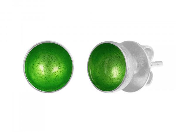"""8 Design Schmuck aus Emaille Ohrstecker Schale Grasgrün Silber 600x450 - Ohrstecker """"Schale"""" mit grasgrüner Emaille"""