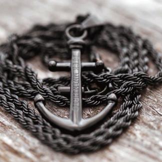 Ankerkette schwarz für ein stylisches Outfit 324x324 - Anker-Halskette FRAM aus Edelstahl in Silber
