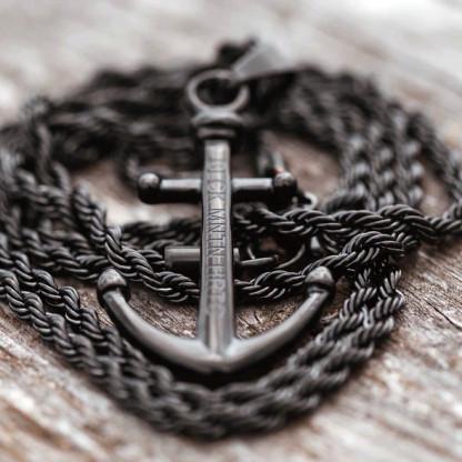 Ankerkette schwarz für ein stylisches Outfit 416x416 - Anker-Halskette PRETO aus Edelstahl in Schwarz