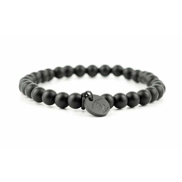 Armband aus schwarzen Obsidian Perlen - Steinperlen Armband BLACKBITE schwarz