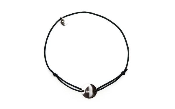 Armband mit Token MOIN fabe schwarz silber 2 600x375 - Token Armband MOIN in Schwarz und Silber