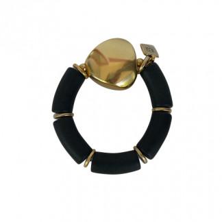 Armband mit schwarzen Boegen und goldenem Triangel 324x324 - Armband mit Bögen und Drachenplatte
