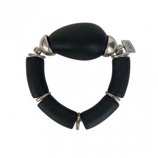 Armband mit schwarzen Boegen und silberner Olive 324x324 - Armband mit Bögen, Halbschalen und Kugeln