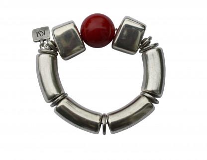 Armband mit silbernen Boegen Bloecken und roter Kugel scaled 416x323 - Armband mit Bögen, Blöckchen und Kugel