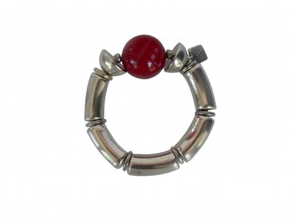 Armband mit silbernen Boegen Halbkugel und roter Kugel 600x450 - Armband mit Bögen, roter Kugel und Halbkugel