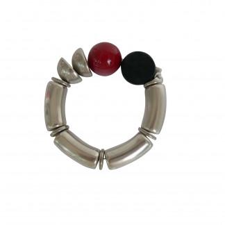 Armband mit silbernen Boegen Halbschalen und farbigen Kugeln 324x324 - Armband mit Bögen, Halbschalen und Kugeln
