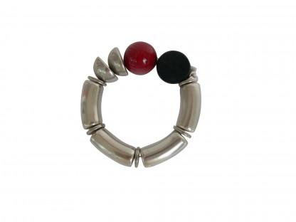 Armband mit silbernen Boegen Halbschalen und farbigen Kugeln 416x312 - Armband mit Bögen, Halbschalen und Kugeln