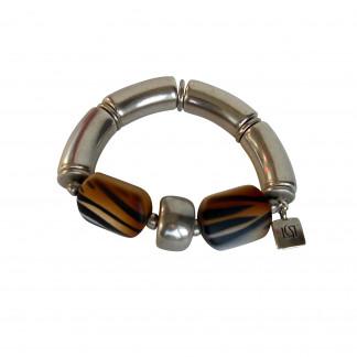 Armband mit silbernen Boegen Reifen und braunen Tigerprintbonbons 324x324 - Armband mit Bögen und Animalprint Bonbon