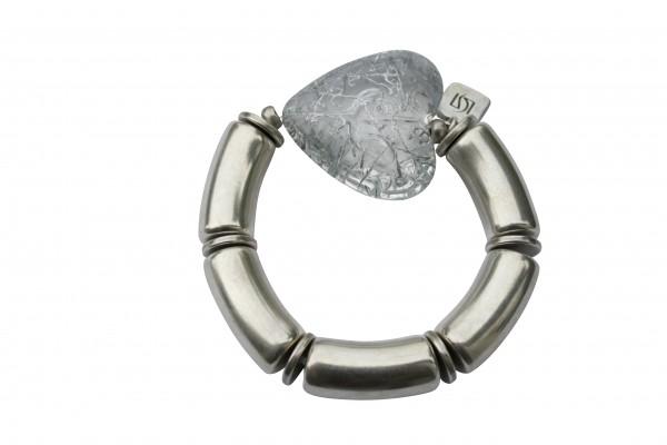 Armband mit silbernen Boegen und grauem Netzherz 600x400 - Armband mit Bögen und Herz