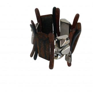 Armband mit silberner Nuggeplatte und rostfarbenen Staeben KugelnPlatte 324x324 - Armband mit Platten,Nuggetplatten und Stäben