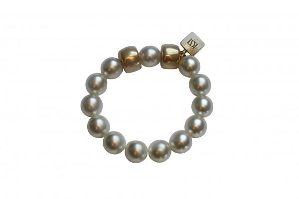 Armband mit weissen Perlen und goldenen Reifen 600x400 - Armband mit Perlen und Reifen