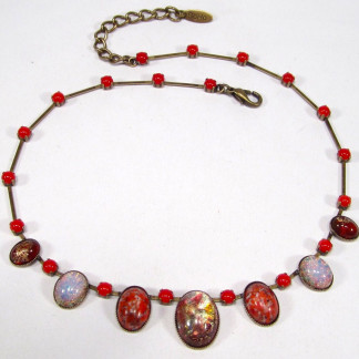 Collier vintage coral fireopal