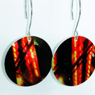 Design-Ohrhänger-PRINT-mit orangem Motiv