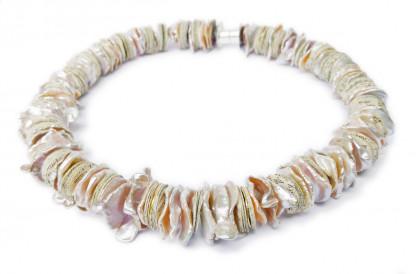 Designschmuck Kaufen Collier Fluss des Wissens mit Keshi-Perlen