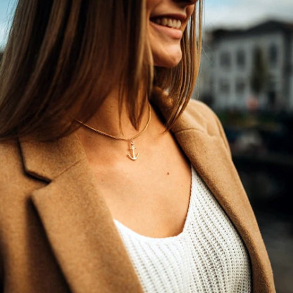 Designschmuck aus Edelstahl Ankerkette in Gold 416x416 - Anker-Halskette HYRNA aus Edelstahl gold