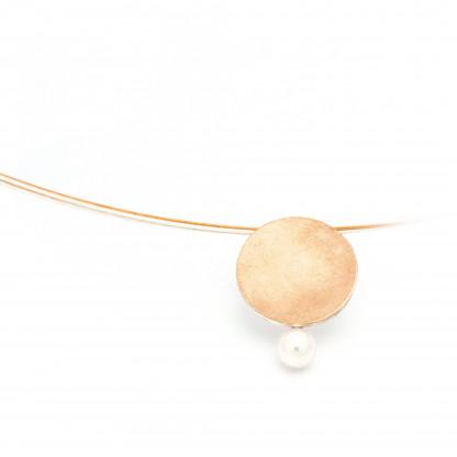 Designschmuck kaufen 1 Anhänger silber rosegold Perle Halskette 416x416 - Elementar - Kettenanhänger mit Perle unten