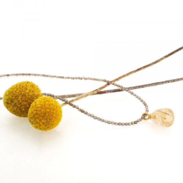 Designschmuck kaufen 20 2 Drop Rutilquarz gold Rauchquarz Halskette 600x600 - Drop - Halskette mit Rutilquarz mit goldenen Nadeln