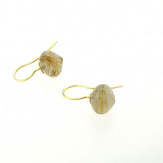 Designschmuck kaufen 31 Rutilquarz Ohrhänger 324x324 - Goldene Ohrhänger mit Onion-Cut Rutilquarz