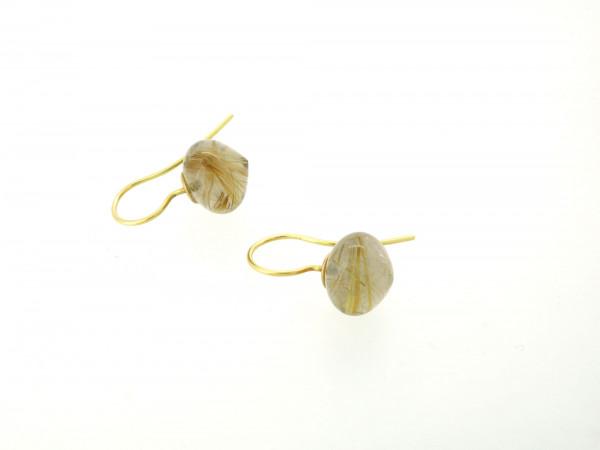 Designschmuck kaufen 31 Rutilquarz Ohrhänger 600x450 - Goldene Ohrhänger mit Onion-Cut Rutilquarz