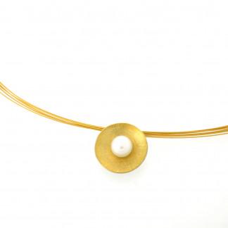 Designschmuck kaufen 5 Anhänger Schale Halskette silber gold plattiert 324x324 - Schale Elementar - Kettenanhänger mit Perle und Feingold