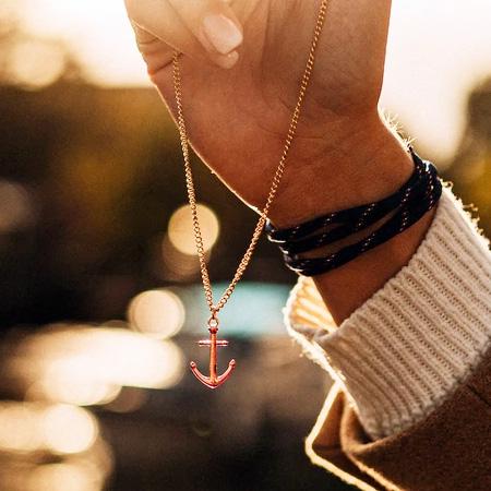 Designschmuck kaufen Ankerkette Edelstahl Rosegold - Anker-Halskette KATLA aus Edelstahl roségold