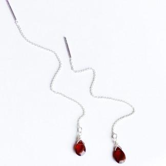 Durchzieh-Ohrringe mit natürlichen und unbehandelten Granat-Edelsteinen in Tropfenform kaufen