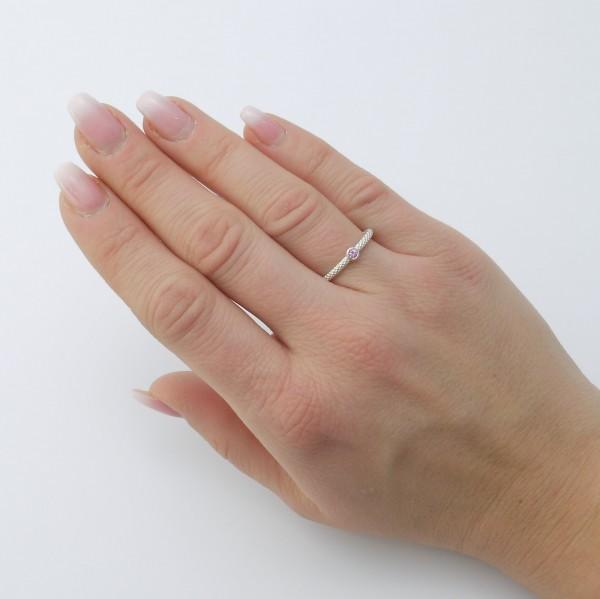 Feiner Pünktchenring aus 925er Silber mit rosa Saphir 600x599 - Pünktchenring 925er Silber mit rosa Saphir