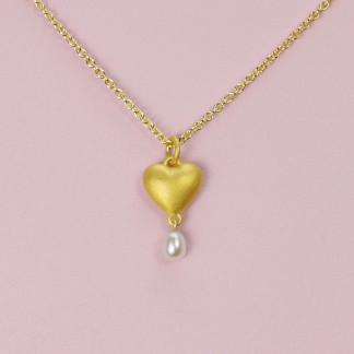 Goldener Herzanhänger mit Perle aus 750er Gelbgold massiv gegossen mit goldener Kette online kaufen