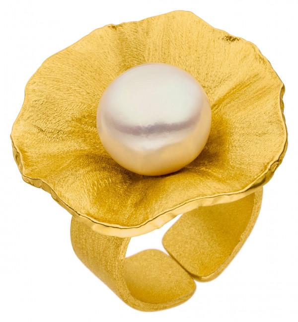 """Große Zuchtperle auf Silber Ring vergoldet Sakura 600x648 - Ring """"Sakura"""" aus vergoldetem Silber mit großer Zuchtperle"""