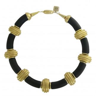 Halskette mit schwarzen Boegen und goldenen Daempfern 324x324 - Halskette mit Bögen und Dämpfern