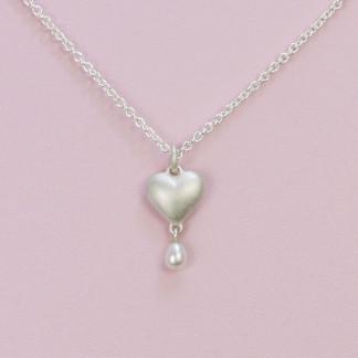 Herzanhänger mit Perle aus massivem Silber online kaufen
