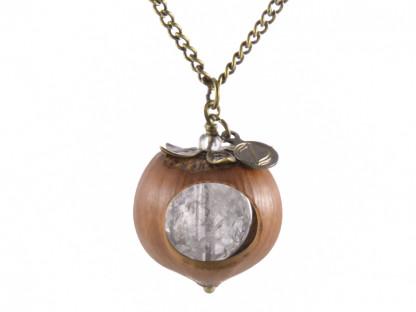 Klare Haselnuss Halskette mit Bergkristall in Bronze 416x312 - Klare Haselnuss-Halskette mit Bergkristall in Bronze