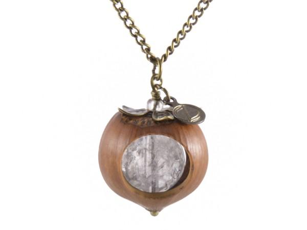 Klare Haselnuss Halskette mit Bergkristall in Bronze 600x450 - Klare Haselnuss-Halskette mit Bergkristall in Bronze