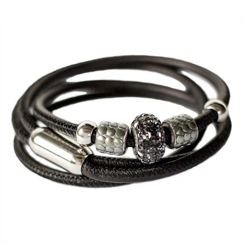 Leder-Wickelarmband in Schwarz mit Swarovski-Becharmed Perle ... 600b6f5a0b