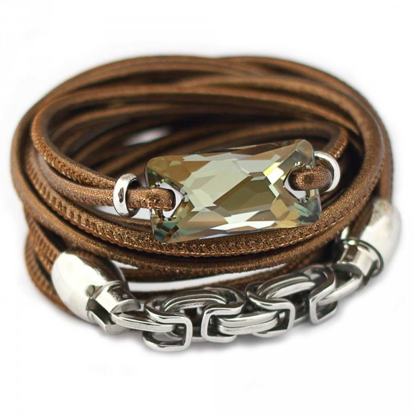 Lederarmband Schmuck kaufen 600x600 - Wickelarmband aus Nappa-Leder in Bronze mit Swarovski-Kristall in Bronze Shade