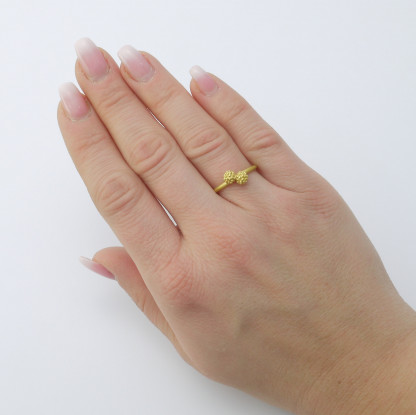 Mimosenring doppelt Gold 416x415 - Mimosenring doppelt aus Gold