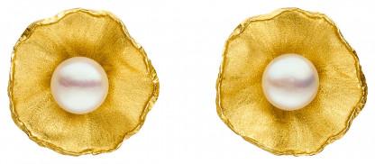 """Ohrclips Silber vergoldet mit großer Perle Sakura 416x182 - Ohrclips """"Sakura"""" aus vergoldetem Silber mit großer Zuchtperle"""