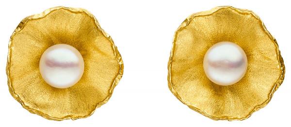 """Ohrclips Silber vergoldet mit großer Perle Sakura 600x262 - Ohrclips """"Sakura"""" aus vergoldetem Silber mit großer Zuchtperle"""