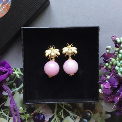 Ohrhänger Hummeln Jade Rose Box - Ohrhänger Hummel mit Kugel aus Malay Jade in Rosé