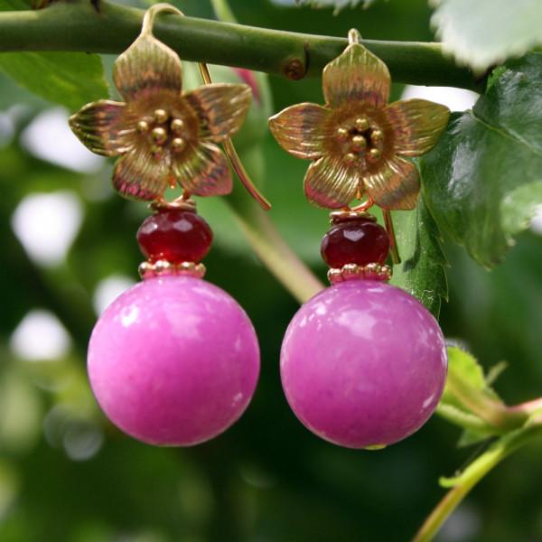 Ohrhänger kaufen mit Blüte mit Kugel aus pinker Malay Jade 600x600 - Ohrhänger Blüte mit Kugel aus pinker Malay Jade
