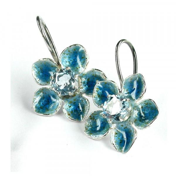 Ohrhänger kaufen vom Schmuckdesigner Blüte mit Emaille und blauem Topaz 600x600 - Ohrhänger Blüte mit Emaille und blauem Topaz