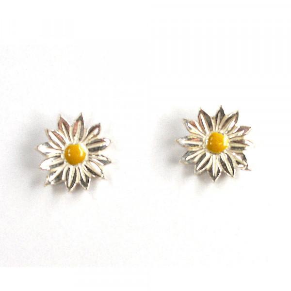 Ohrstecker Margeriten aus Silber mit Emaille kaufen vom Goldschmied 600x600 - Ohrstecker Margeriten aus Silber mit Emaille