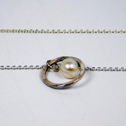 Perlenring Anhänger an Kette Silber 3 416x416 - Perlenring Anhänger an Kette Silber