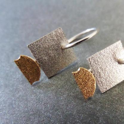 """Quadratischer Design Orhänger aus Silber Goldschmiedin Andrea Bejöhr 416x416 - Silber-Ohrhänger """"Quadrat"""""""