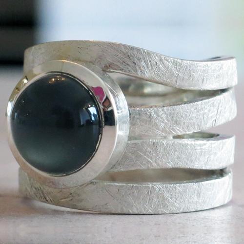 Ring Mondstein Silber - Ring Mondnest Silber