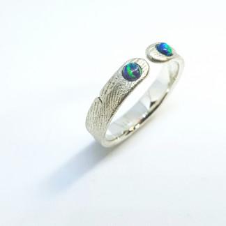 """Ring mit Opal aus Silber Ophalia 2 324x324 - Silberring """"Ophalia"""" mit zwei Opalen"""